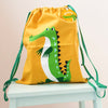 Crocodile drawstring bag with personalised keyring