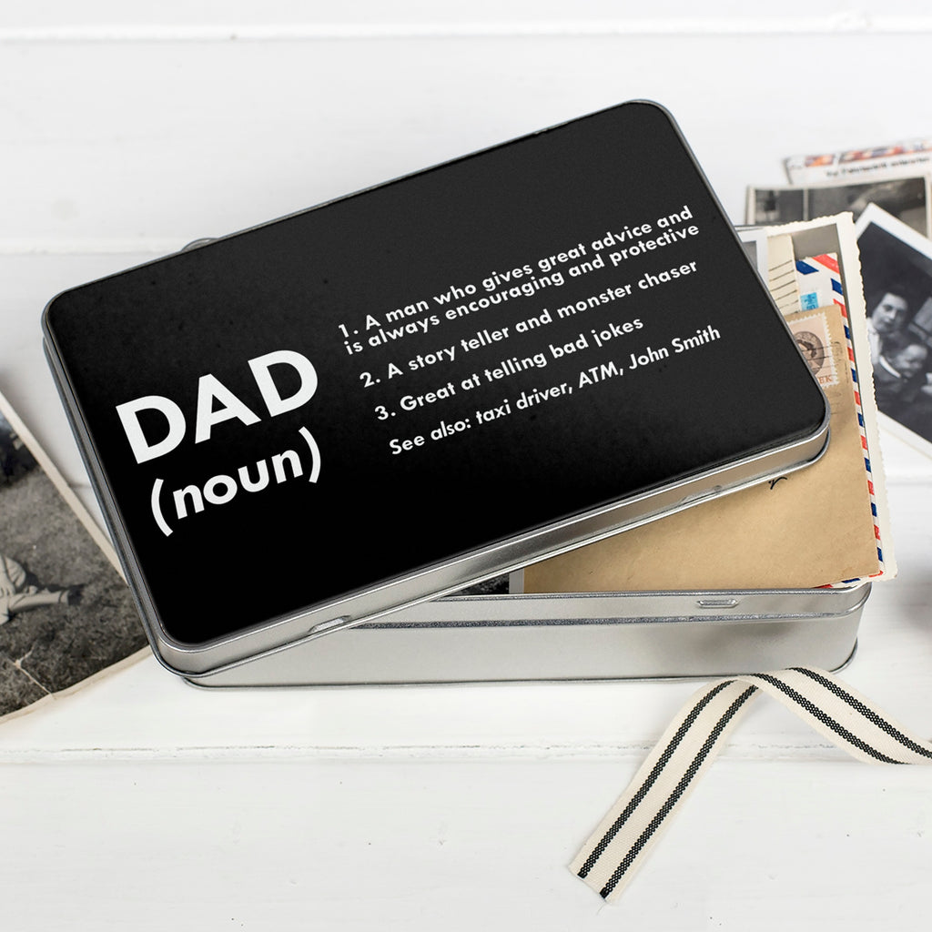 Personalised Definition Of Dad Keepsake Tin Box