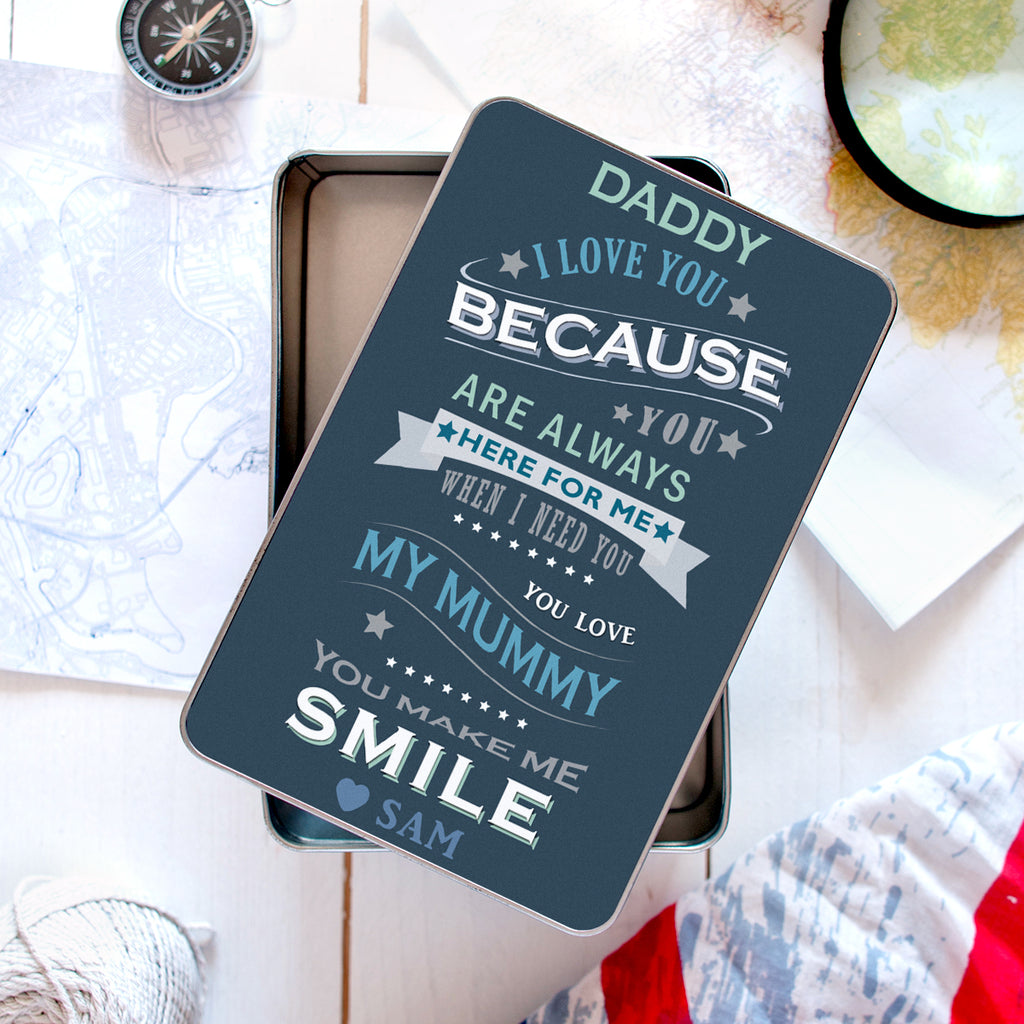 Personalised Father's Day Keepsake Tin Box
