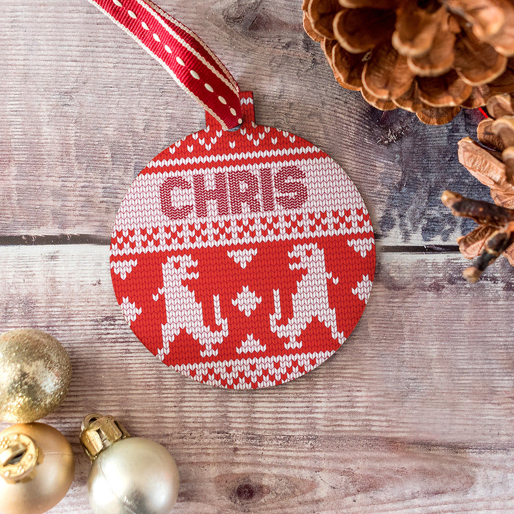Personalised Dinosaurs Cross Stitch Jumper Bauble
