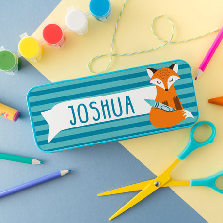 Children's Personalised Clever Fox Pencil Tin