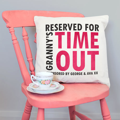 Personalised Grandma's 'Time Out' Velveteen Cushion