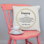 Personalised Golden Wreath Grandmother Cushion