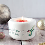 Personalised Hummingbirds Couple Candle Holder