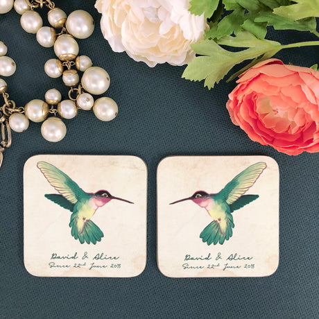 Personalised Couple's Hummingbirds Coaster Set