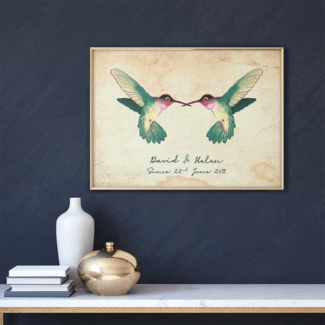 Personalised Hummingbirds Couple Wall Art Print