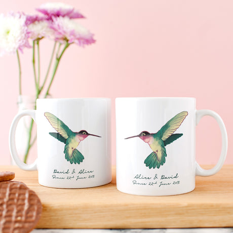 Personalised Couple's Hummingbirds Mug Set