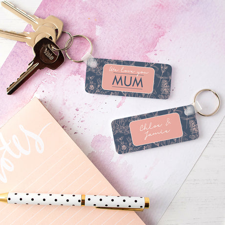 Personalised Botanical Mum Keyring