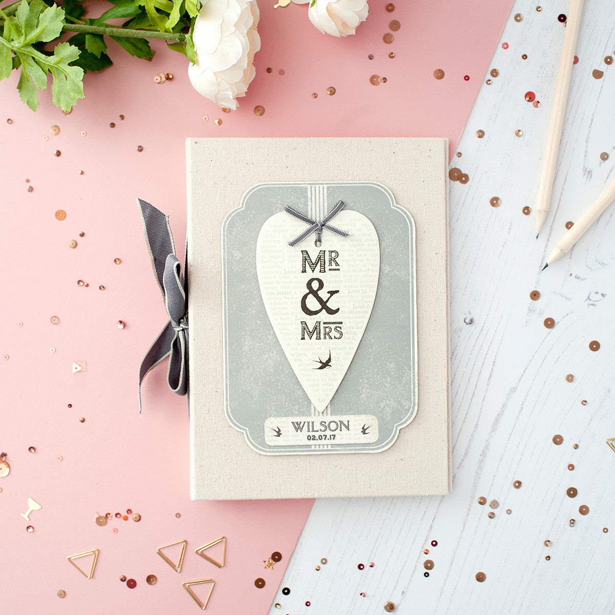 Personalised Mr And Mrs Vintage Photo Album In Gift Box The Little