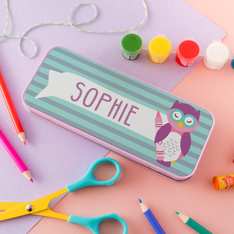 Children's Personalised Wise Owlet Pencil Tin