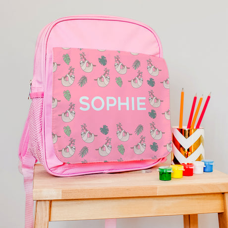 Personalised Backpack With Tropical Sloths Design