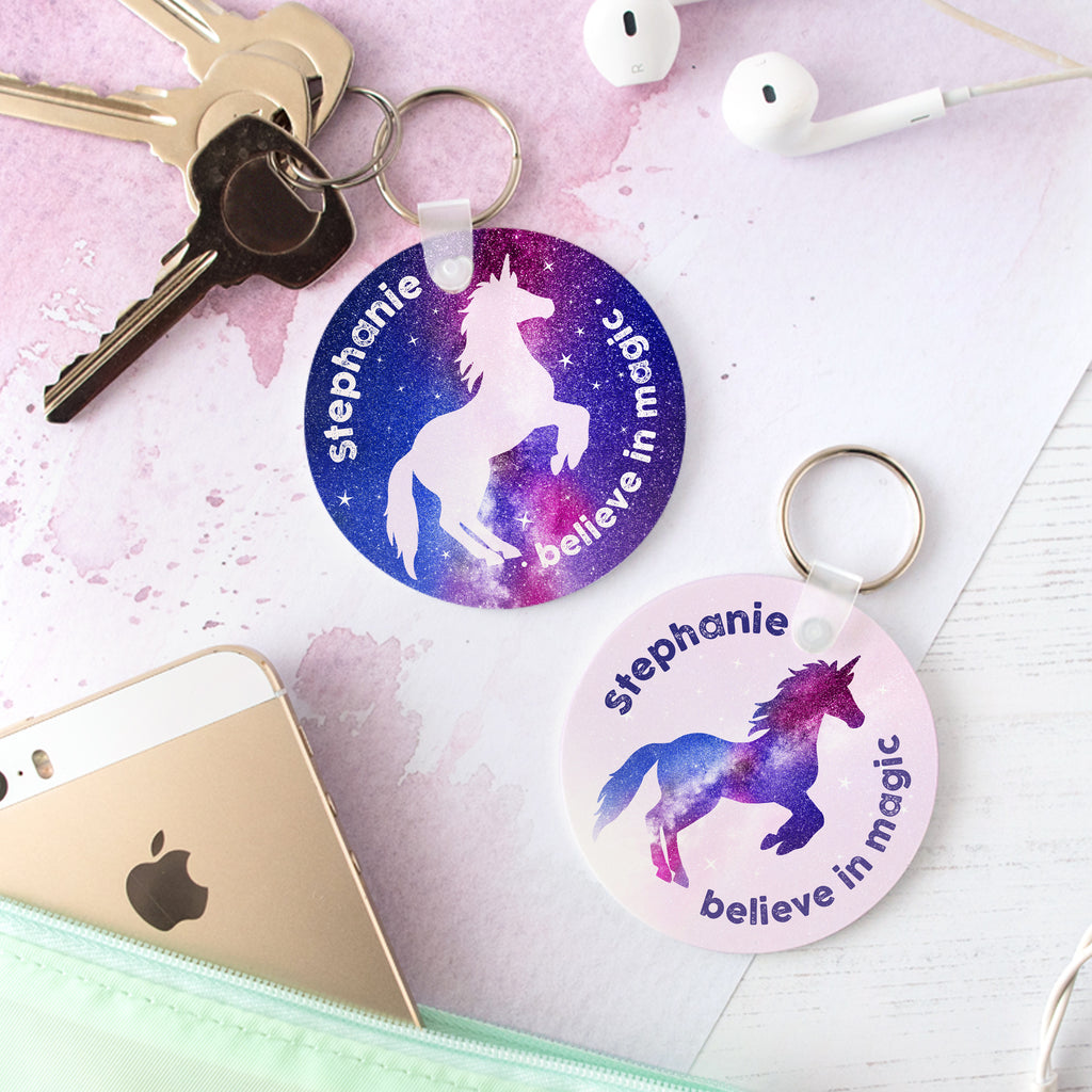 Personalised Stardust Unicorn Keyring