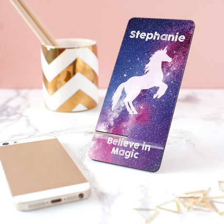 Personalised Stardust Unicorn Phone Stand