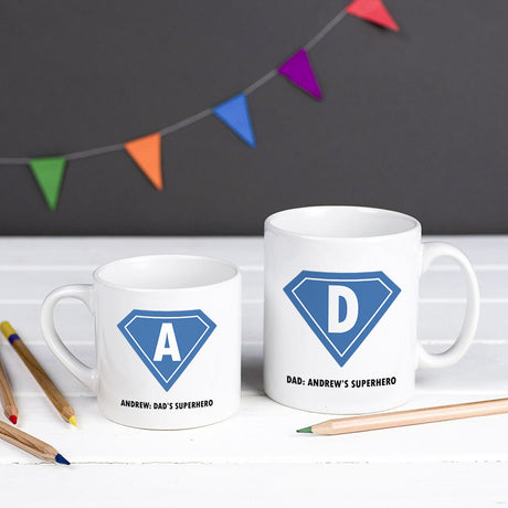 Personalised Superhero 'Daddy And Me' Mug Set