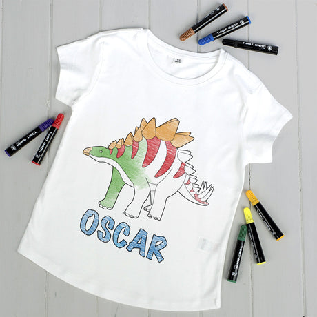 Personalised 'Colour Your Own' Dinosaur T Shirt Kit
