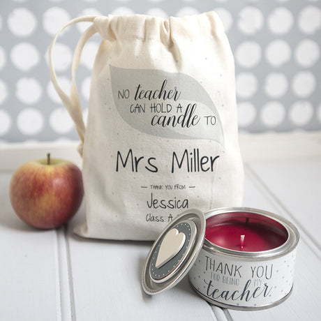 personalised candle for teacher