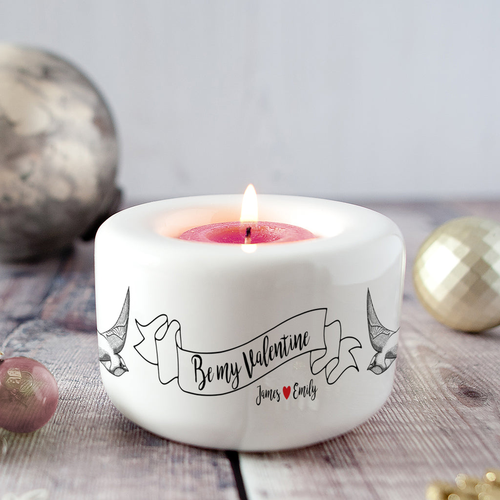 Personalised Retro 'Be My Valentine' Candle Holder