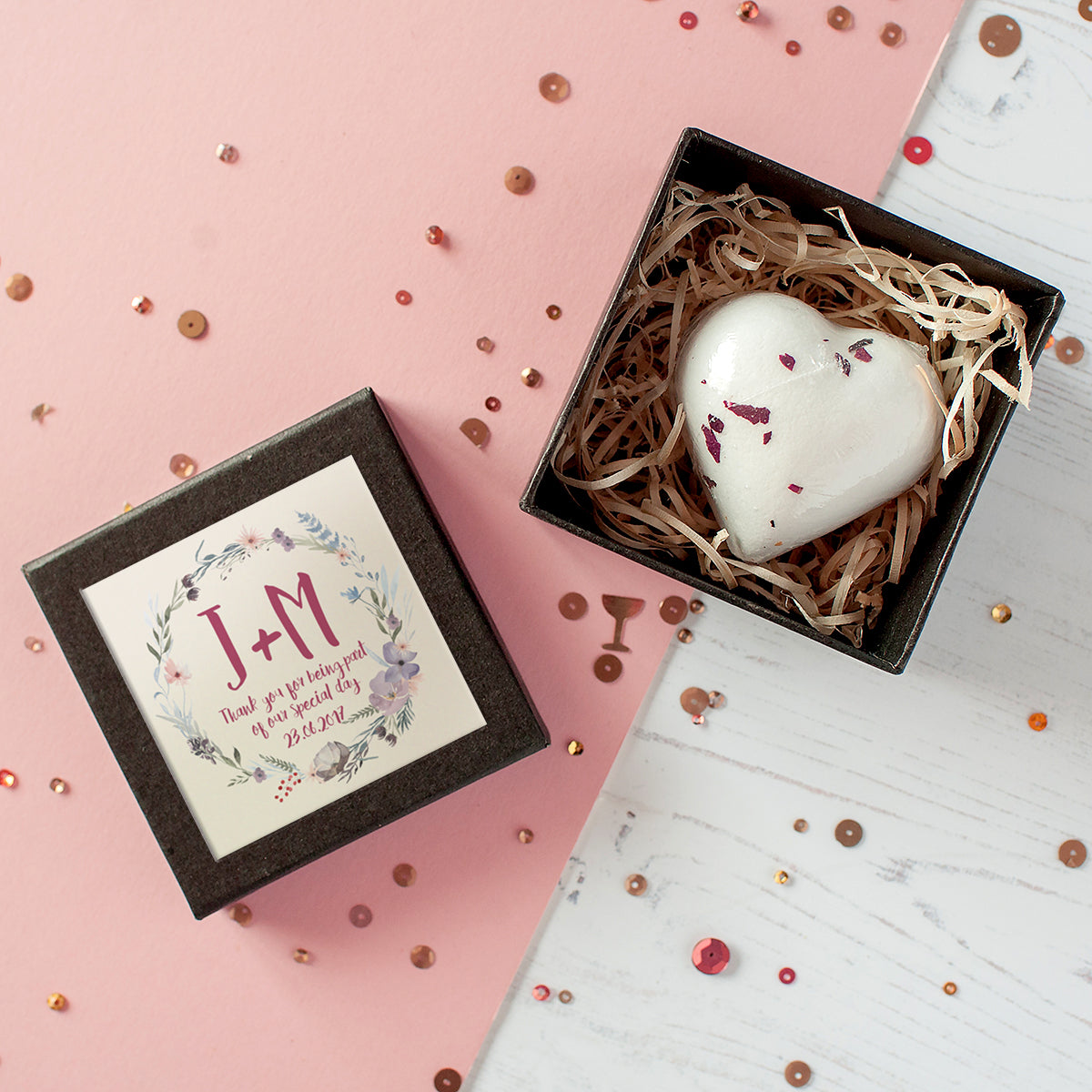 Personalised Wedding Favour Heart Bath Bomb In Gift Box | The Little ...