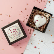 Personalised Wedding Favour Heart Bath Bomb In Gift Box