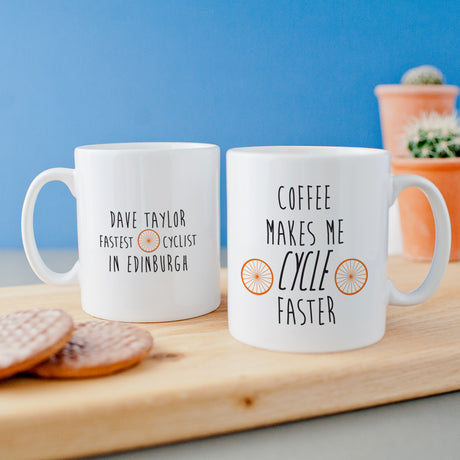 Personalised 'Coffee Makes Me Cycle Faster' Mug