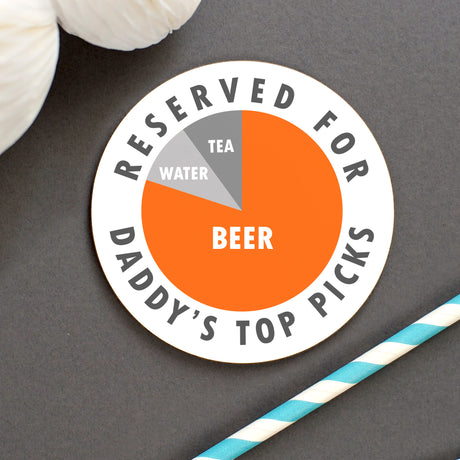 Dad's Personalised 'Top Picks' Pie Chart Drinks Coaster