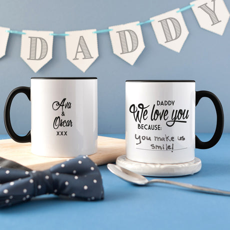Personalised 'Daddy I Love You Because' Message Mug (Erasable Pen Included!)