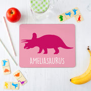 Personalised Triceratops Dinosaur Placemat and Coaster Set