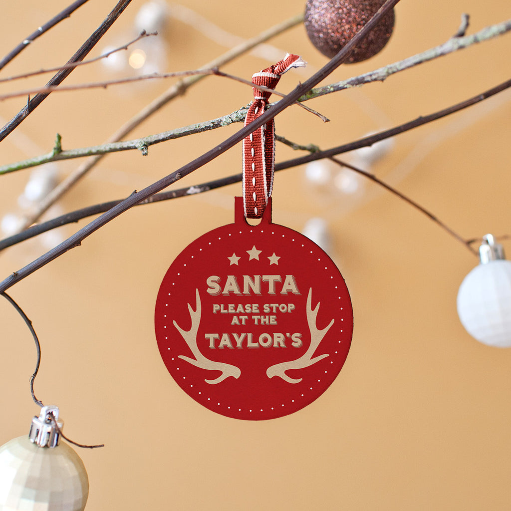 santa stop here christmas bauble