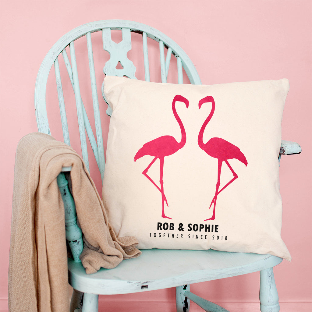 Personalised Velveteen Flamingo Couple Cushion