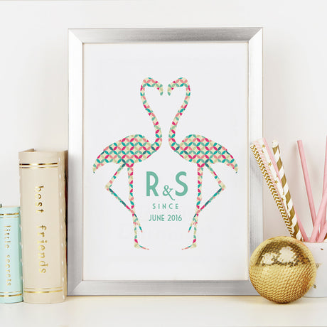 Personalised Retro Style Couples Flamingo Art Print