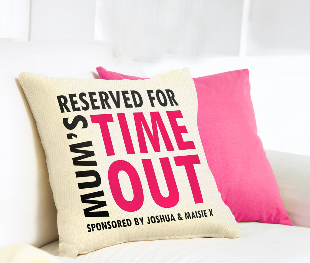 Personalised Mum's 'Time Out' Velveteen Cushion