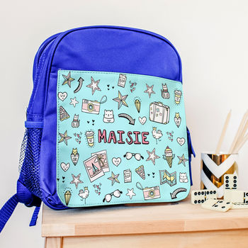 Personalised Backpack With Doodle Graffiti Design