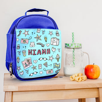 Personalised Lunch Bag With Doodle Graffiti Design