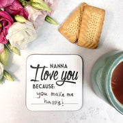 Personalised 'Grandma I Love You Because' Message Mug Set