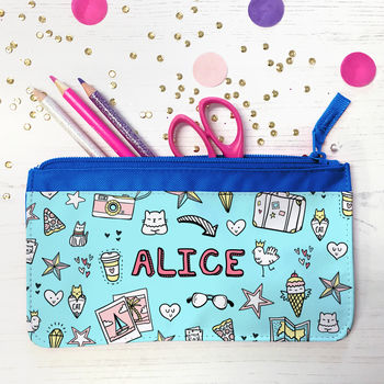 Personalised Pencil Case With Doodle Graffiti Design