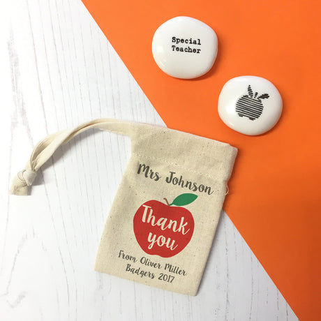 Personalised Teacher Gift Pebble And Pouch