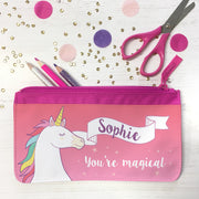unicorn pencil case pink