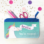 unicorn pencil case blue
