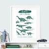 personalised dinosaur print for children - green