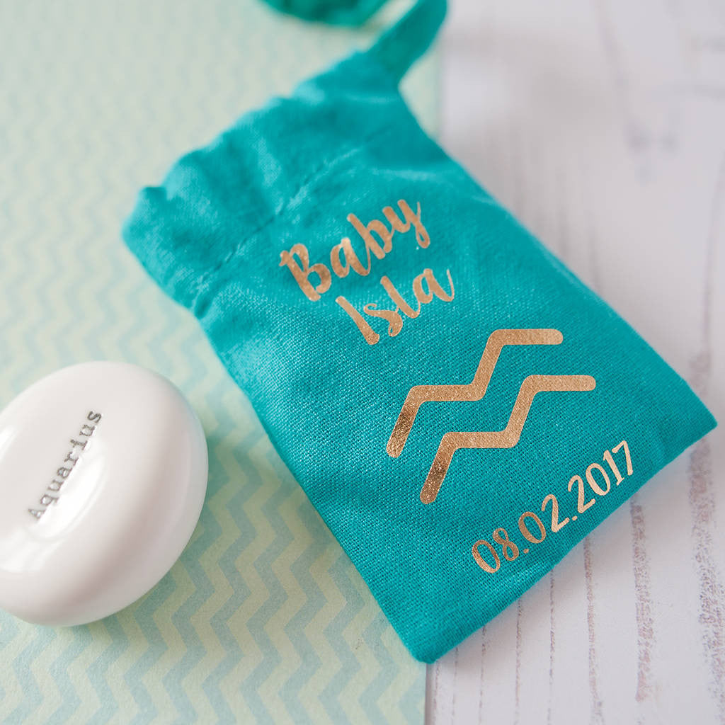 Personalised New Baby Zodiac Pebble In Gift Pouch