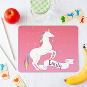 Personalised Unicorn Placemat and Coaster Set for Children