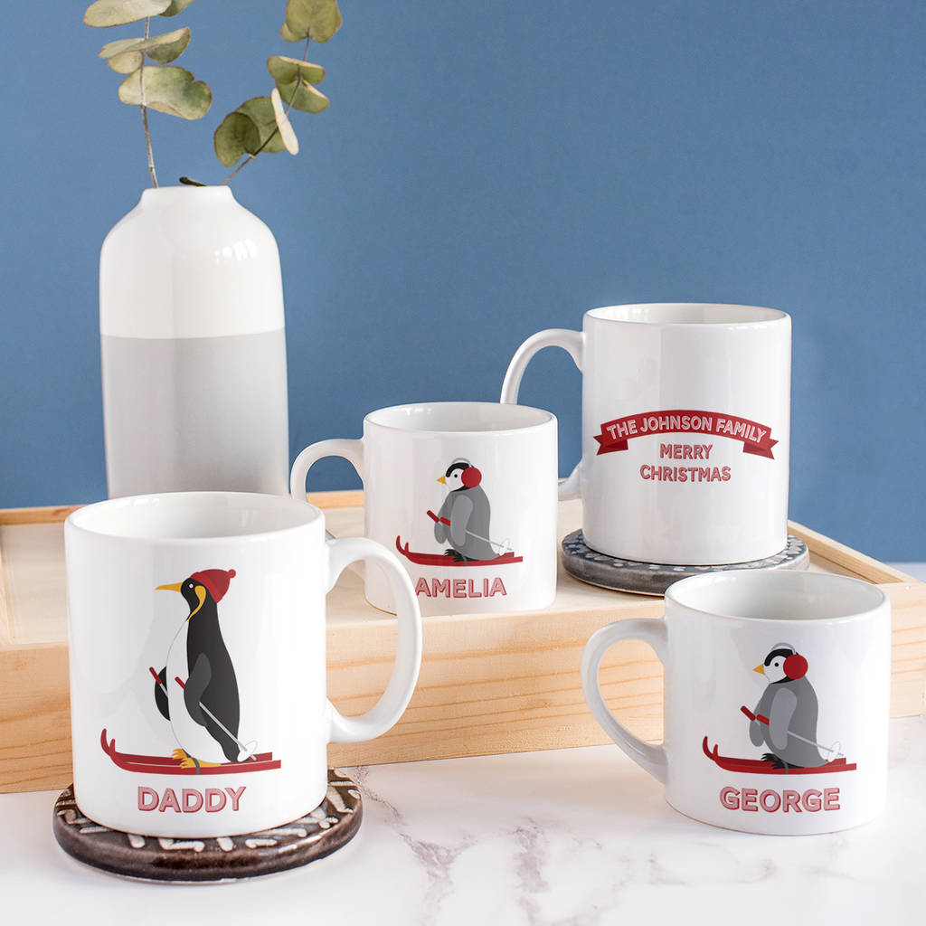 Christmas Mugs.Personalised Penguin Family Mug Set