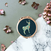 Personalised Deer Silhouette Rose Gold Compact Mirror