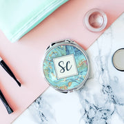 Personalised Marble Monogram Pocket Mirror