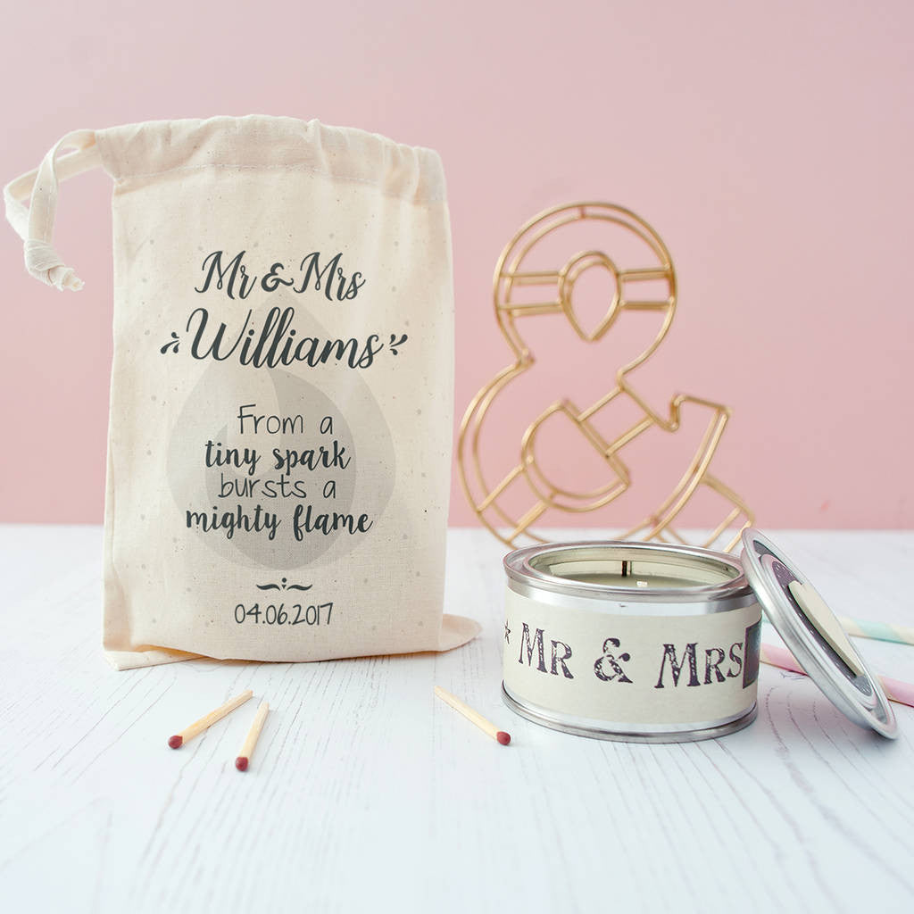 Personalised Wedding Candle In Gift Bag