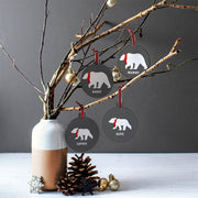 Polar bear family bauble set