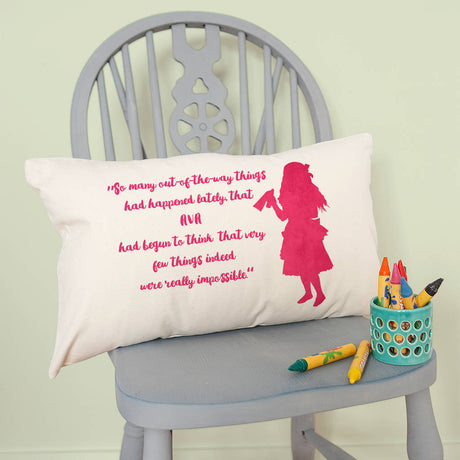 Personalised Velveteen Alice Silhouette Cushion