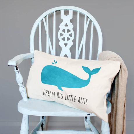 Personalised Velveteen Blue Whale Children's Cushion