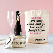 Personalised Palentine's Prosecco Candle In Gift Bag