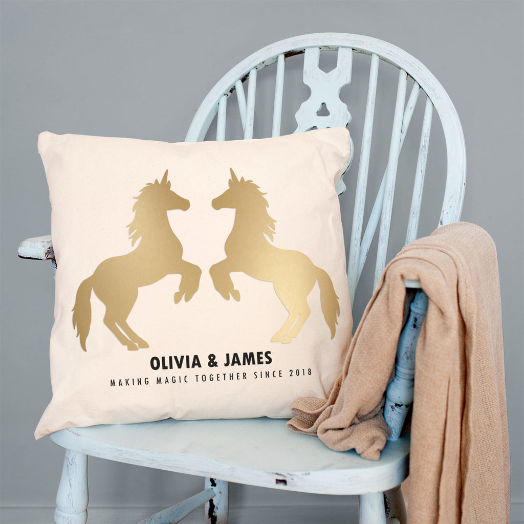 Personalised Golden Unicorn Cushion For Couples